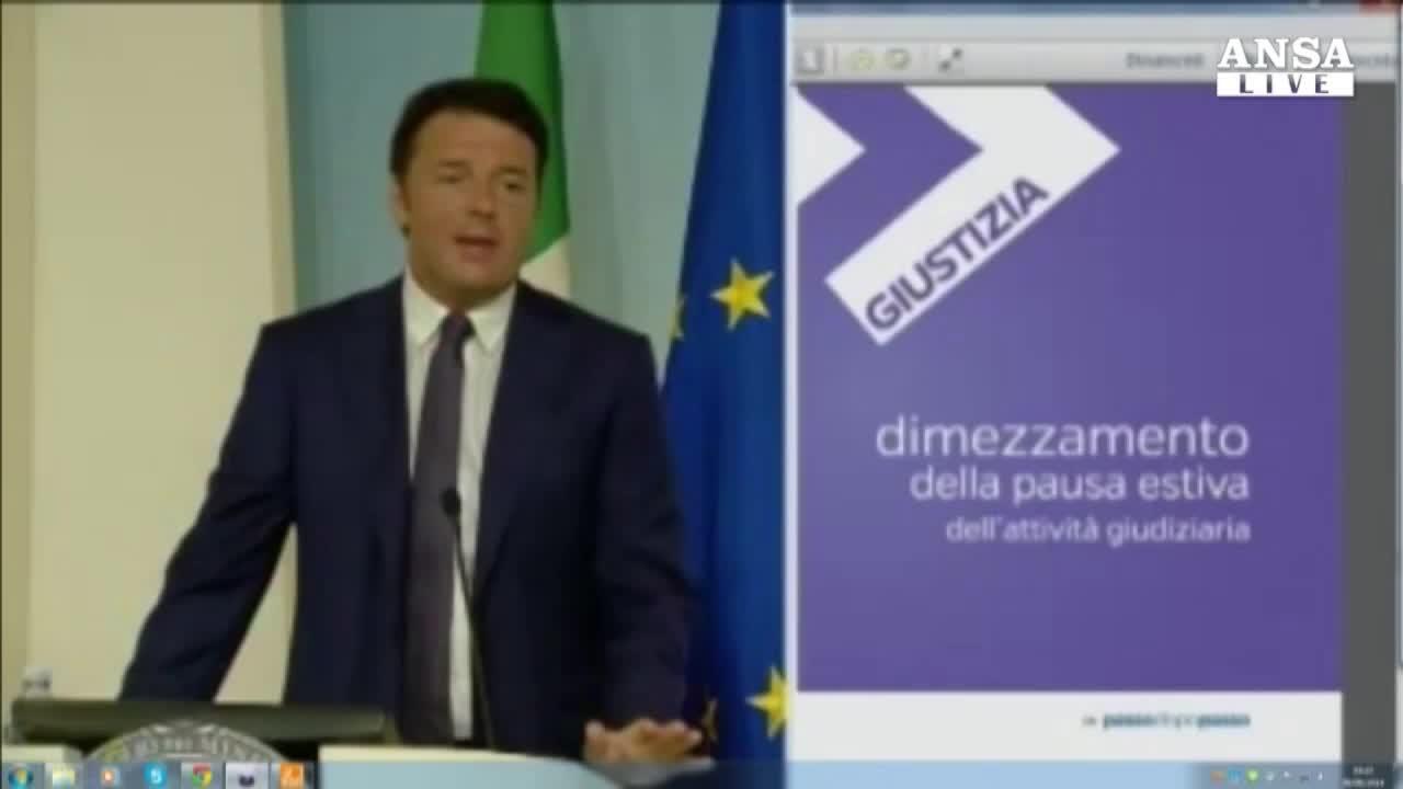 """Renzi vara """"rivoluzione"""" Giustizia,subito 10 mld opere"""